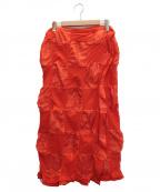 ROBE DE CHAMBRE COMME DES GARCONS(ローブドシャンブル コムデギャルソン)の古着「ブロックチェックスカート」|オレンジ