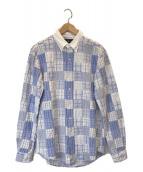 ()の古着「[古着] パッチワークシャツジャケット」|ブルー×ホワイト