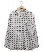 ()の古着「総柄オープンカラーシャツ」|ホワイト×ネイビー