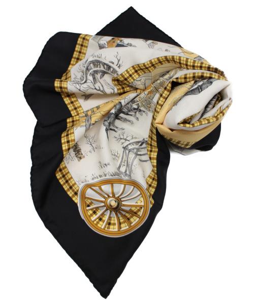 HERMES(エルメス)HERMES (エルメス) シルクスカーフ イエロー×ブラック サイズ:90 The Bull & Mouth 冬の郵便馬車 カレ90の古着・服飾アイテム