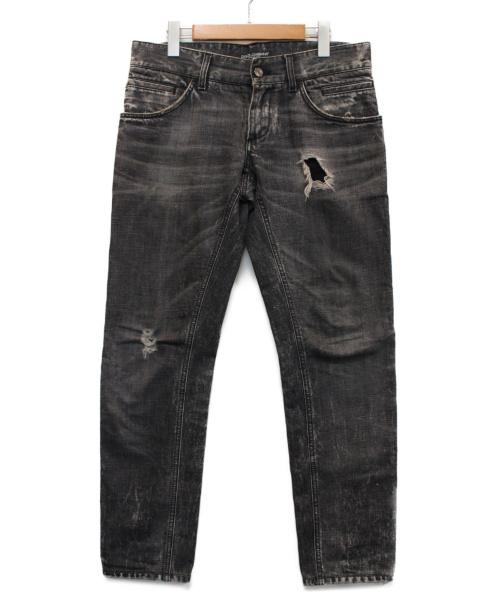 DOLCE & GABBANA(ドルチェ&ガッバーナ)DOLCE & GABBANA (ドルチェアンドガッバーナ) クラッシュ加工デニムパンツ グレー サイズ:46の古着・服飾アイテム