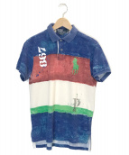 ()の古着「総柄ポロシャツ」|レッド×ブルー