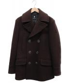 NEWYORKER(ニューヨーカー)の古着「スター刺繍メルトンPコート」|ブラウン