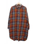 MARGARET HOWELL(マーガレットハウエル)の古着「チェックシャツワンピース」|オレンジ×ネイビー