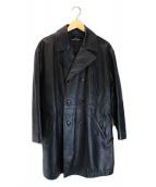 tricot COMME des GARCONS(トリコ コムデギャルソン)の古着「【古着】80'sカウレザーコート」 ブラック