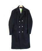 ()の古着「W-ODERウールロングコート」|ブラック