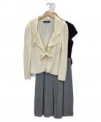 M'S GRACY(エムズグレイシー)の古着「ニット×ベロアワンピースセットアップ」|ベージュ×ブラック