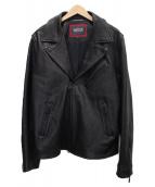Barbour International(バブアーインターナショナル)の古着「レザーライダースジャケット」|ブラック