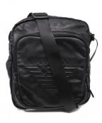 ARMANI JEANS(アルマーニジーンズ)の古着「ロゴレザーショルダーバッグ」|ブラック