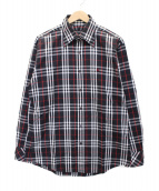 BURBERRY BLACK LABEL(バーバリーブラックレーベル)の古着「ノヴァチェックシャツ」|ブラック×レッド
