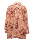 ()の古着「総柄プリーツデザインシャツ」|ピンク