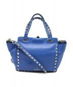 VALENTINO GARAVANI(ヴァレンティノ・ガラヴァーニ)の古着「ロックスタッズ2WAYチェーンバッグ」 ブルー