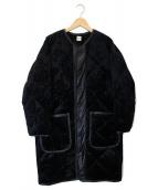 Ron Herman(ロンハーマン)の古着「レザーパイピングキルティングダウンコート」|ブラック