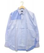 ()の古着「綿オックス多素材MIX L/Sシャツ」 ブルー