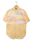 ()の古着「切替デザインS/Sシャツ」 オレンジ