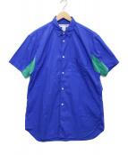 ()の古着「スリーブ切替S/Sシャツ」 ブルー×グリーン