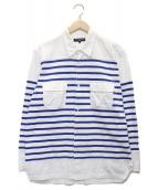 ()の古着「切替ボーダーシャツ」 ブルー×ホワイト