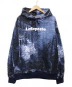 Lafayette(ラファイエット)の古着「総柄POパーカー」|ブルー×ブラック