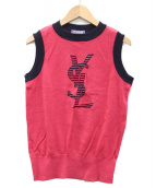 Yves Saint Laurent(イヴサンローラン)の古着「ノースリーブロゴニット」|ピンク×ネイビー