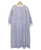 Samansa Mos2(サマンサモスモス)の古着「35th SA刺繍ワンピース」|ホワイト×ブルー