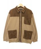 ()の古着「MilanoRib Loose Zip Bluson」|ベージュ×ブラウン