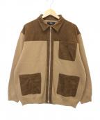 Vaporize(ヴェイパライズ)の古着「MilanoRib Loose Zip Bluson」 ベージュ×ブラウン