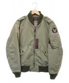 HOUSTON(ヒューストン)の古着「L-2 フライトジャケット」|オリーブ