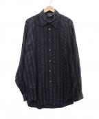 VERSACE(ヴェルサーチ)の古着「ストライプ銀釦シャツ」|ネイビー