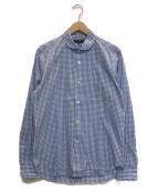 ()の古着「丸襟 ギンガムチェックシャツ」|ホワイト×ブルー