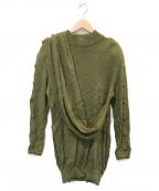 Christian Dior()の古着「スリーブボタンデザインニット」 オリーブ