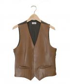 ALLEGE(アレッジ)の古着「Synthetic Leather Gilet」 ブラウン×ブラック