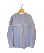 icB(アイシービー)の古着「WoolGeorgette Vネックブラウス」|スカイブルー