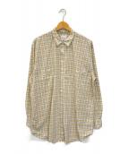 ()の古着「チェックシャツ」 ベージュ×グリーン