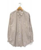 ()の古着「チェックシャツ」 ベージュ×パープル