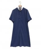 LACOSTE(ラコステ)の古着「ハーフジップ ポロシャツワンピース」|ブルー×ホワイト