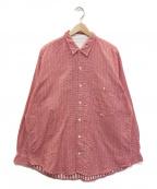 PAPAS(パパス)の古着「ハウンドトゥース ワークシャツ」 レッド