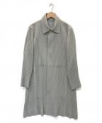 HOMME PLISSE ISSEY MIYAKE(オムプリッセイッセイミヤケ)の古着「プリーツステンカラーコート」 グレー