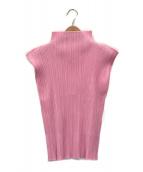 ()の古着「ノースリーブプリーツブラウス」|ピンク