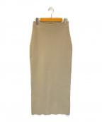 Noble()の古着「リブニットタイトスカート」 ベージュ