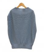 Noble(ノーブル)の古着「ペーパーヤーン片畦ノースリオフショルダープルオーバー」|ブルー