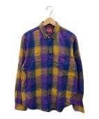 ()の古着「Shadow Plaid Flannel Shirt」 パープル×イエロー