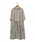 GIANNI LO GIUDICE(ジャンニ ロ ジュディチェ)の古着「ノーカラーレイヤードワンピース」|ベージュ
