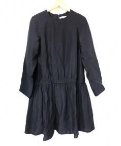 CARVEN(カルヴェン)の古着「シルクレーヨンギャザーワンピ」|ブラック