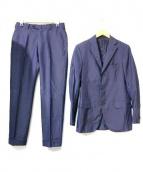Belvest(ベルベスト)の古着「ウールフレスコグレンチェック3Bスーツ」|ネイビー