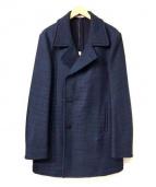 BOGLIOLI(ボリオリ)の古着「ウールコットンナイロンジャージシングルPコート」|ネイビー