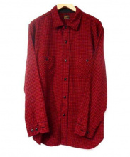 TENDERLOIN(テンダーロイン)の古着「千鳥柄ウールシャツ」|ブラック×レッド