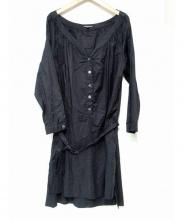 ANN DEMEULEMEESTER(アンドゥムルメステール)の古着「シャツワンピース」|ブラック