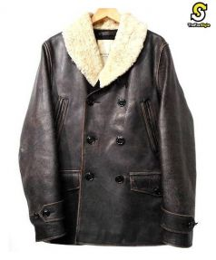 Denim & Supply Ralph Lauren(デニムアンドサプライ ラルフローレン)の古着「ボアレザーコート」 ブラウン
