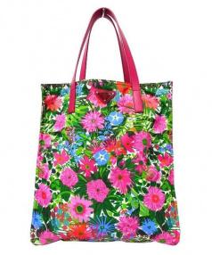 PRADA(プラダ)の古着「花柄ナイロントートバッグ」 ピンク×グリーン
