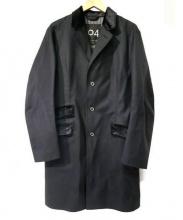 104 MACKINTOSH(マッキントッシュ)の古着「ベロア切替ゴム引きチェスターコート」|ブラック